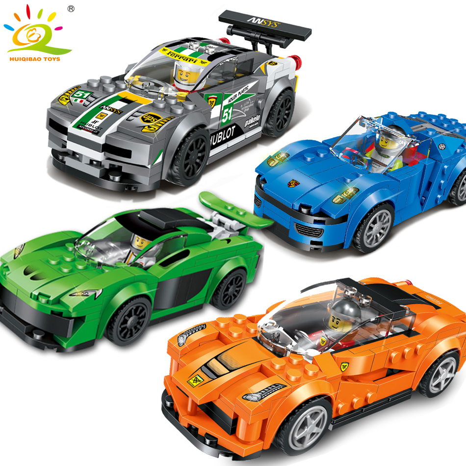 4 color/set coche de carreras bloques de construcción con figuras de ...