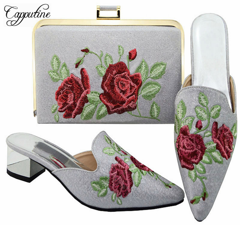 Capputine Hot Sale Italian Matching Shoes And Bag Sets Fashion African Embroider Women Shoes And Bag Set For Dress MM60032