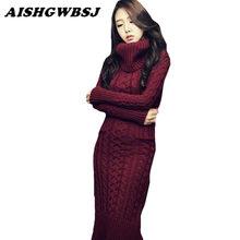 6b952f362aea4 Aishgwbsj kış yeni kadın balıkçı yaka kazak dress kore yüksek boyunlu uzun  ince büküm kalın örme kazak ince elbiseler qyx53