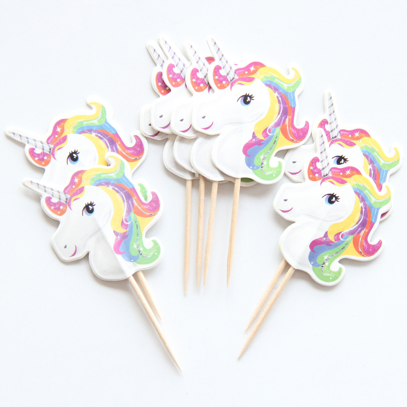 24pcs Cartoon Unicorn Party Cupcake Topper Happy Birthday Party Baby Shower Children Party Decor Kids Cake Decoration Supplies