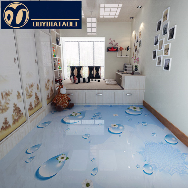 White Water Drop Modern 3D Floor Tiles Polished Crystal Full Body Tile Living Room Decoration
