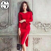 Red Robe Sexy Autumn Dress 2017 Korean Evening Party Long Sleeve Women Dresses Office Side Split
