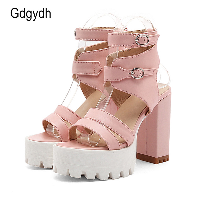 Gdgydh Hot Sales 2018 Summer Gladiator Women Sandals Sexy High Heels Cut-outs Female Sandals Open Toe Platform Ladies Shoes summer shoes women gladiator sandals high heels fashion sexy suede leather open toe thin heel strappy platform female shoes