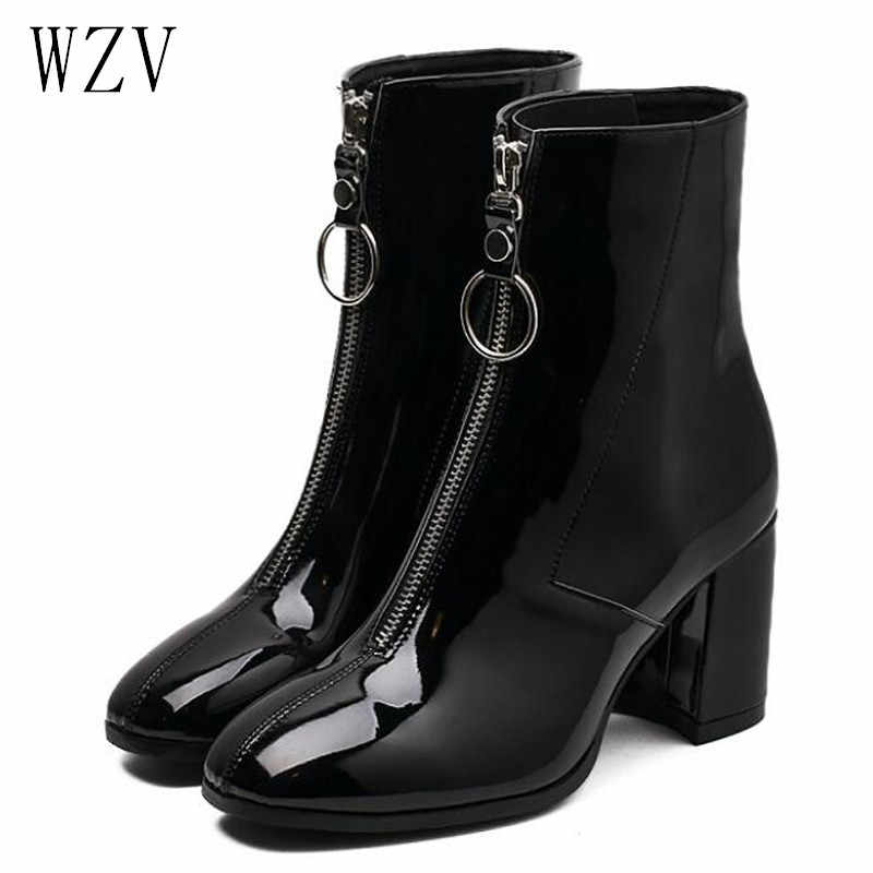 Warm Winter Ankle Boots Front Zipper