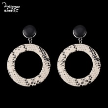 Dvacaman Snake Print Earrings Women Big Round Dangle Drop Earrings Party Fashion  Jewelry Collection Statement Accessories 3ee6519c182c
