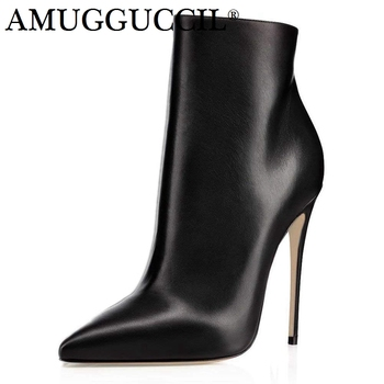 Customize Plus Big Size 35-43 Red Black Blue Zip Fashion Sexy High Heel Spring Autumn Lady Female Ankle Women Boots X1794