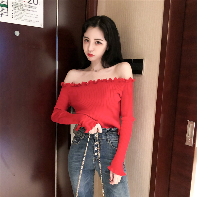 ruffle solid backless off shoulder women sweater Long sleeve women sexy pullover 2018 Autumn winter casual sweaters female