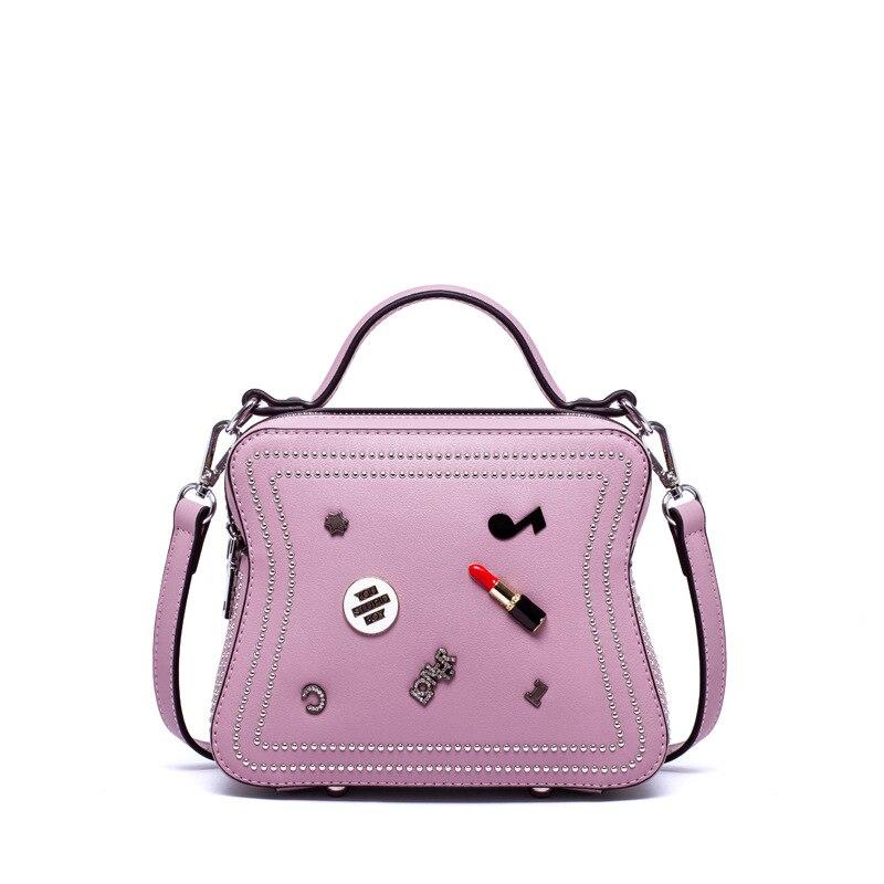 ФОТО 2017 Women Messenger Bags Rock Rivet Two layer Flap Ladies Shoulder Bags Designer Handbags High Quality bolsa feminina