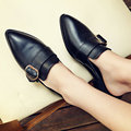 Aiweiyi genuínas mulheres sandálias de couro preto quadrado med salto sapatos mulas sapatos chinelos estilo feminino verão sandálias da senhora do vintage