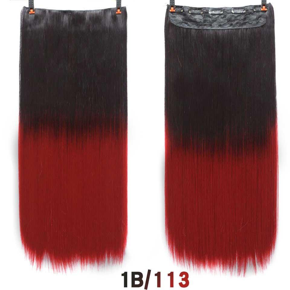 SHANGKE волосы 24 ''длинные прямые женские волосы на заколках для наращивания черный коричневый высокая температура Синтетические волосы кусок - Цвет: 1B/Глубокий Серый