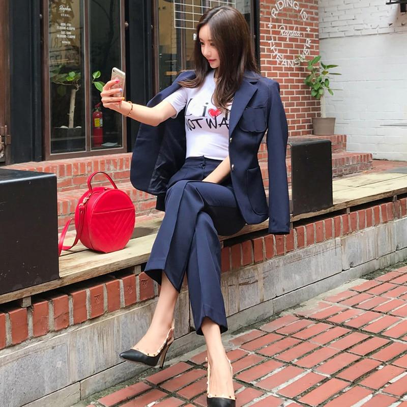 Single Breasted Blazer Deep Blue Pant Suit  Women Fashion Slim Waist Blazer Jacket And Straight Pant OL Style 2 Pieces Set