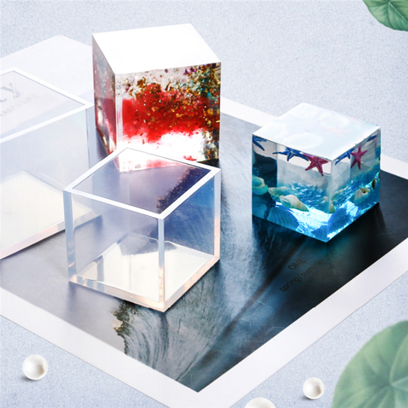 Square White DIY Crystal Epoxy Plastic Square Mold Cube Molde Silicona Silicon Mold Decoration Craft