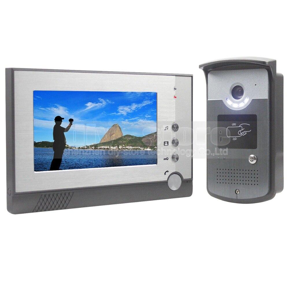 DIYSECUR 7 pouces TFT couleur LCD affichage vidéo porte téléphone visuel interphone sonnette carte lecteur de clé RFID LED caméra de Vision nocturne