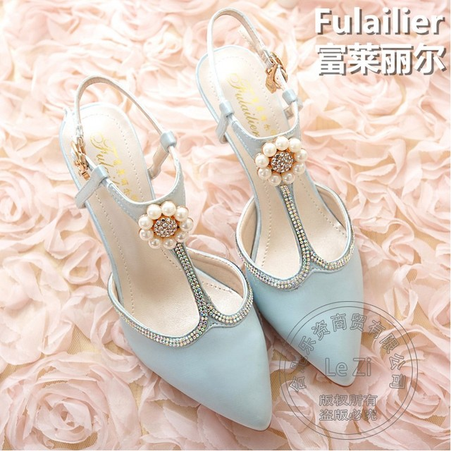 Printing Leather Pink Silk Pig Leather Gladiator Buckle Strap Pointed Toe Soft Lolita Fall Ladies Shoes With Heels