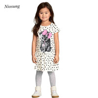 Niosung New Summer Girl Cotton Dress Cat Print Grey Baby Girl Dress Children Clothing Children Dress
