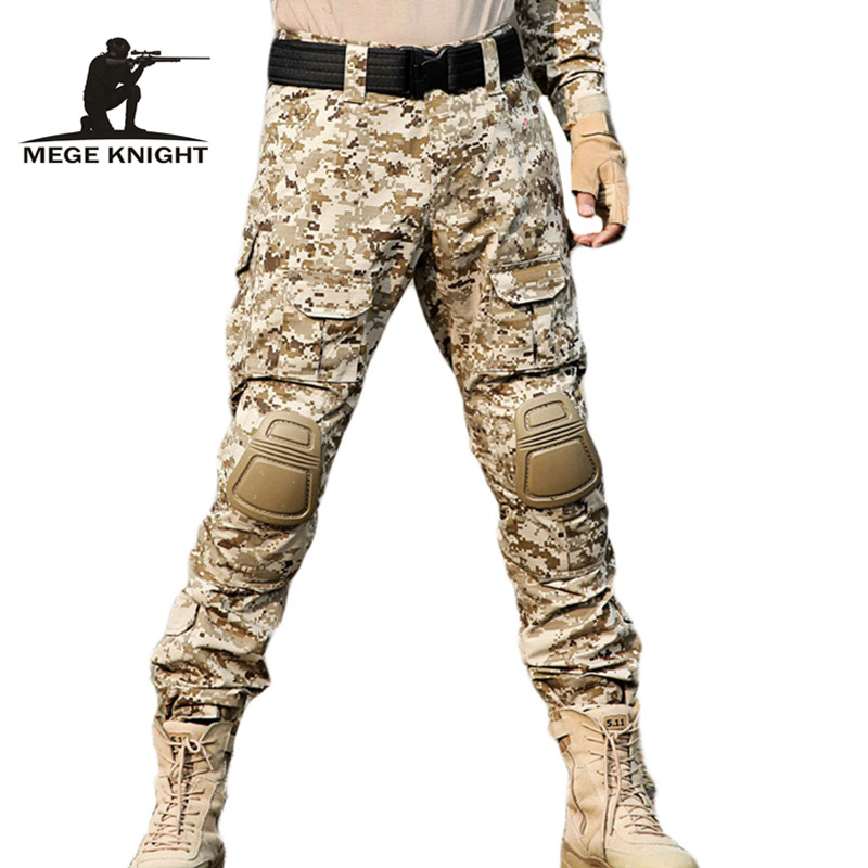 MEGE Rapid Assault Multicam Pants With Knee Pads, Camouflage Tactical Military Clothing,  Paintball Army Cargo Combat Trousers