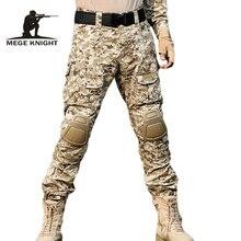 Mege rápida assalto multicam calças com joelheiras, camuflagem tático roupas militares, paintball exército carga combate calças