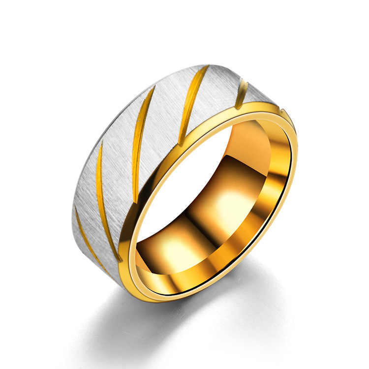 Stainless steel Three colors simple Double Twill matte ring    8RD181