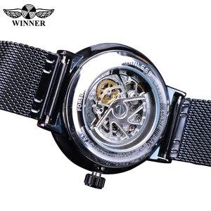 Image 4 - Winner 2019 Fashion Black Golden Mesh Belt Waterproof Luminous Hands Mechanical Wrist Watches Top Brand Luxury Business Clock