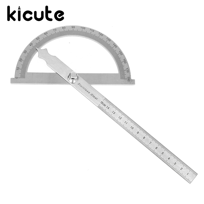 Kicute Hot Sale 0-180 Degree Stainless Steel Round Head Rotary Angle Protractor Ruler With 15cm Straight Ruler Measuring Tool double side scale stainless steel straight ruler measuring tool 50cm