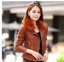 New S/4Xl Womens Short Section Pu Leather Jackets Large Size Casual Fur Collar Female Leather Tops Winter Autumn Coats J1655-6