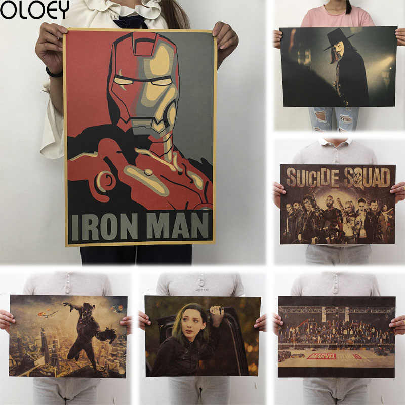 OLOEY 1PC 51.5x36cm Movie Marvel Series Poster Avengers Infinity War Retro Poster Wall Stickers  For Living Room Home Decoration
