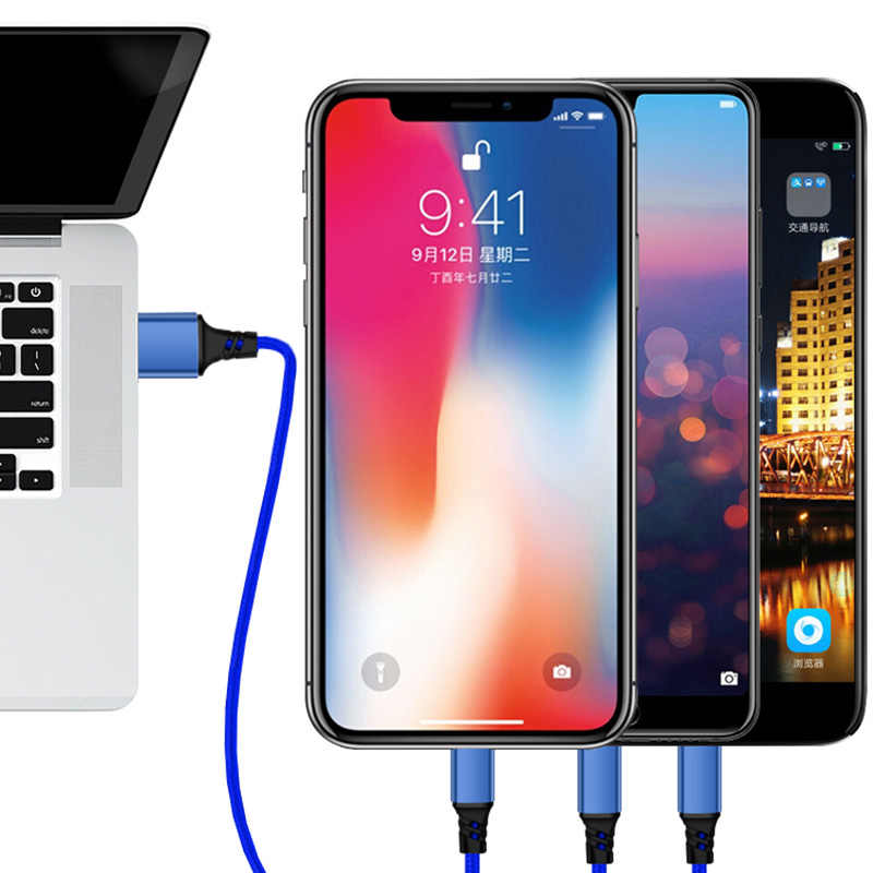 2in1 3in1 USB 充電ケーブル iPhone Xs 最大 XR × 5 SE 6 s 6 s 7 8 プラスマイクロ Usb タイプ C サムスン Xiaomi Huawei 社の Android コード