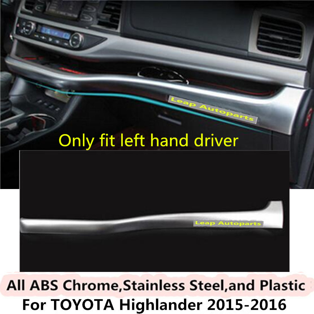 For Toyota Highlander 2015 2016 car cover detector stick ABS Chrome Middle co-pilot Glove box front trim lamp trim panel 1pcs