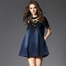 Mavi Kot Boyut S 3XL elbise hanım güz elbise kız dantel O-Boyun parti kulübü emek harcama mini elbise elbiseler femmes vestido de festa
