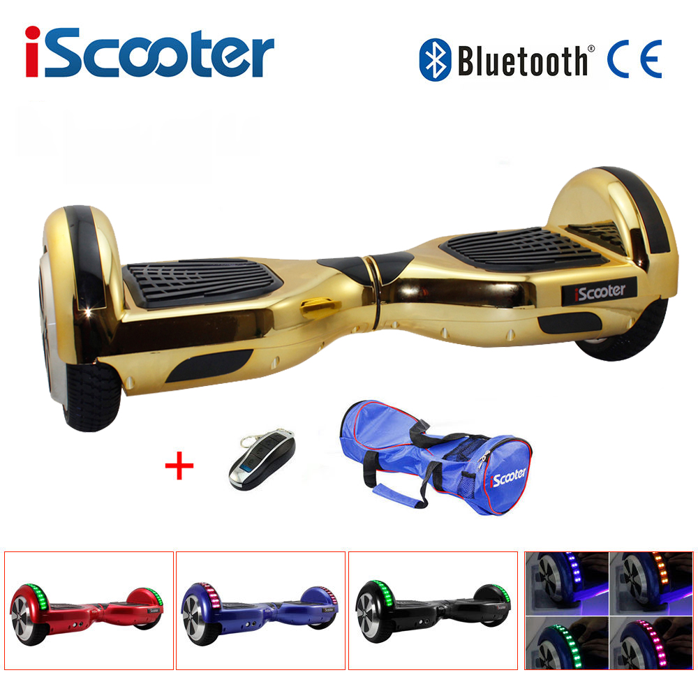 iScooter Chrome hoverboard 6.5 inch Electric Skateboard steering-wheel Smart 2 wheel self Balance Standing scooter hover board rgb led strip smd 5050 rgb 5m diode tape with 20 keys music ir remote controller 12v 3a power adapter flexible decoration light