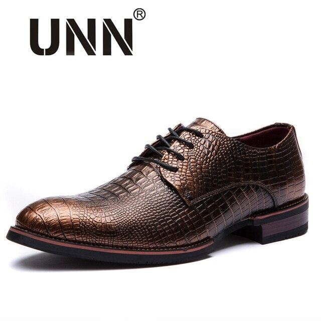 c03a6192 Elegante Clásico Vestido de Los Hombres Zapatos de Diseño Italiano de Grano  Del Cocodrilo Del Cuero