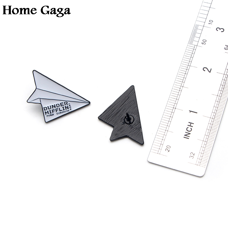 Homegaga The office dunder mifflin Infinity Paper Plane Zinc tie Pins backpack clothes brooches men women hat badges medal D1808 in Badges from Home Garden