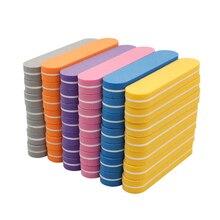 Mini pulidor de uñas de colores variados, esponja desechable para arte de uñas, lijado, pulido, manicura de pulido, herramienta brillante, 100 Uds.