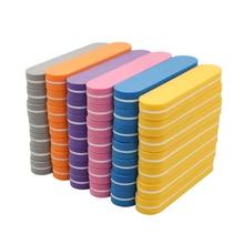 Mini tampons à ongles de couleurs mélangées, jetables, lot en éponge, outil de manucure, ponçage, polissage, brillant, lot de 100 pièces