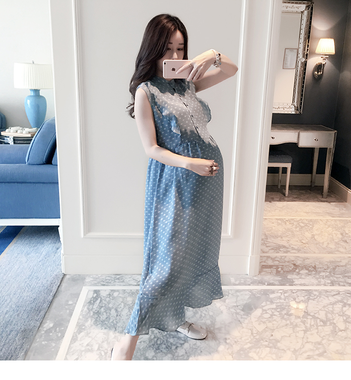 Pregnant sleeveless lady dresses, spring summer woman lace clothing, retail fashion wear, LDDS-24R [Eleven Story]