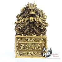 Copper Dragon Seal Imitation ancient jade seal Copper metal crafts home desktop decor decoration ornaments(A859)