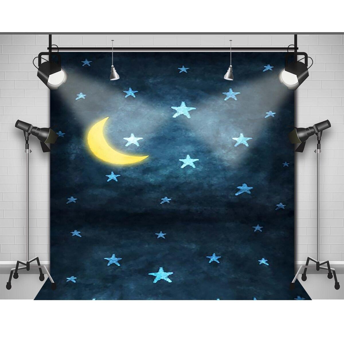 Allenjoy фоновые луна и звезды свет ночного новорожденный фотографии фото для студии стены деревянный пол