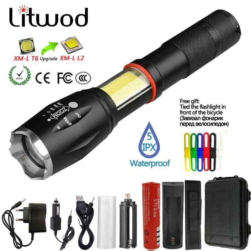Litwod Z201005A Led Flashlight Torch 8000LM CREE XML2-U3 / COB Multifunction Lantern Flashlight Tail Magnet For Riding Light