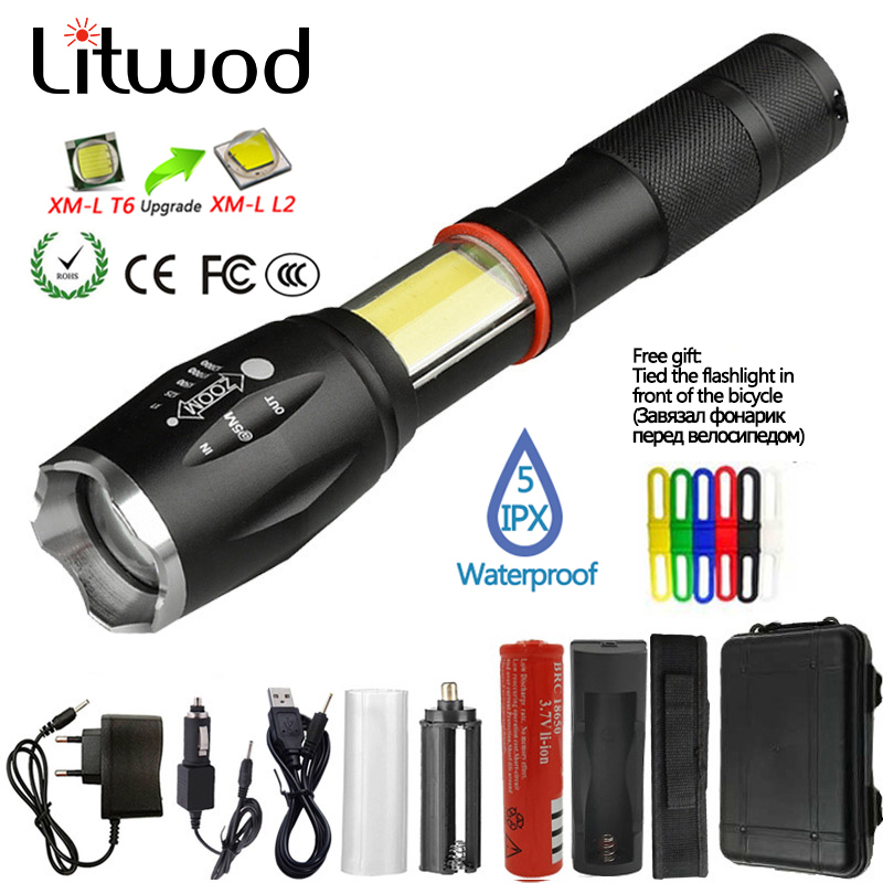 Litwod Z201005A Led Flashlight Torch 8000LM CREE XML-L2 / COB Multifunction Lantern Flashlight Tail Magnet For Riding Light