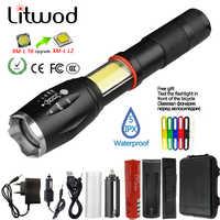 Litwod z201005a led lanterna tocha 8000lm cree XML-L2/cob multifunções lanterna cauda ímã para equitação luz