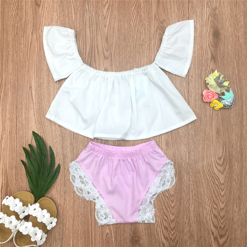2Pcs Toddler Infant Baby Girls Solid Off Shoulder Tops Lace Shorts Outfits Set Clothes ragazza mise insieme Vrouwen pakken. #2