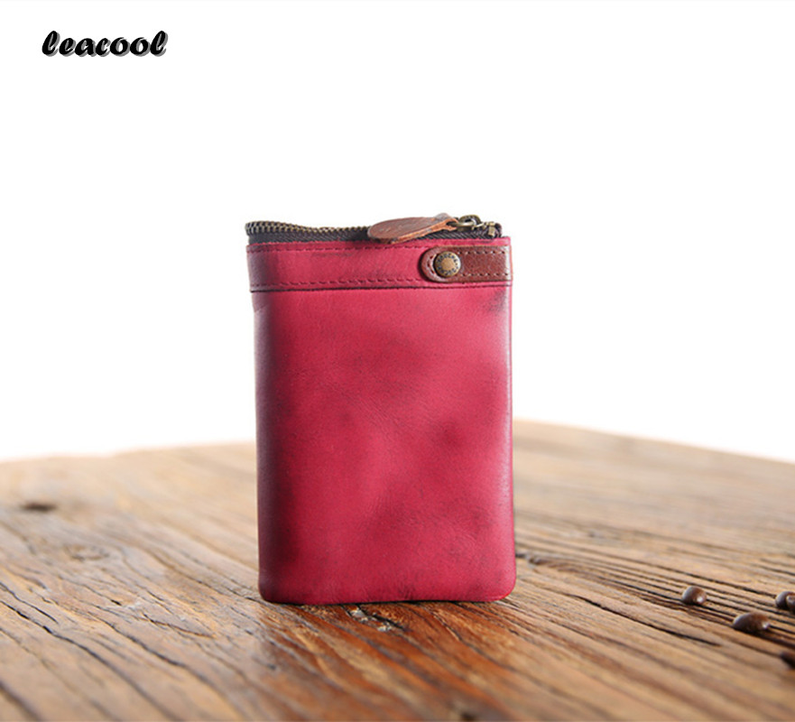 LEACOOL Vintage Leather Trifold Wallet Men Zipper Hasp Wallet Fashion MALE Short Wallets Card Holder Money BAG Coin Purse