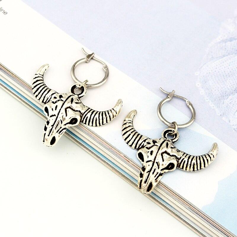 1 Para Mode Retro Persönlichkeit Bull Kopf Hoop Ohrringe Mit Anhänger Übertreibung Silber Ring Ohrringe Legierung Schmuck E526-t2 Produkte Werden Ohne EinschräNkungen Verkauft