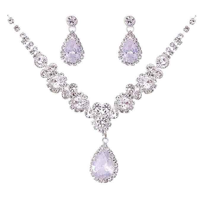 Fashion Bride Necklace & Earrings Wedding Accessories Crystal Bridal Jewelry Prom Pageant Party Wholesale
