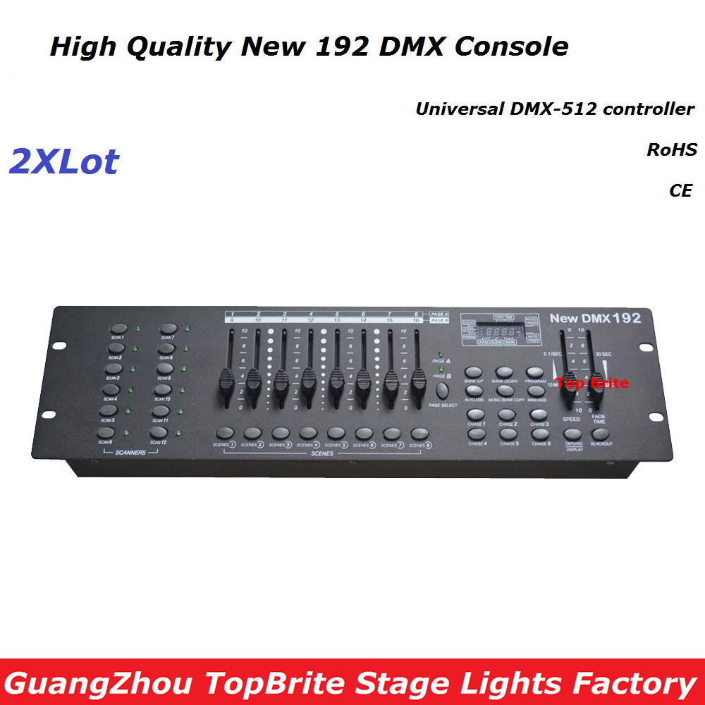 Free Ship 2XLot NEW 192 DMX Controller Stage Lighting DJ Equipment DMX Console For Led Par Moving Head Spotlights Dj Controller