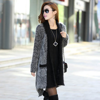 Autumn Winter Cashmere Sweater Women Mohair Cardigan Knitted Long Cardigan Women Sweaters