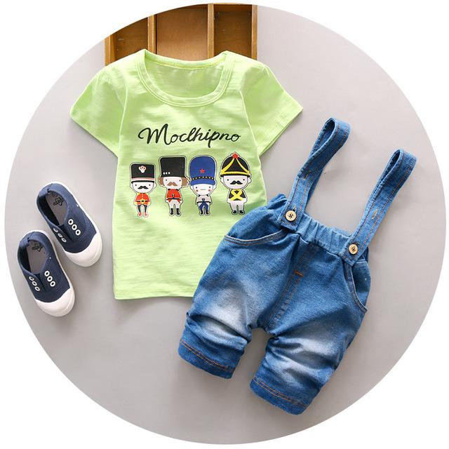 Alta Calidad Conjunto Ropa Infantil de Verano de Algodón Suave camiseta + Suspender Pantalones Conjuntos Niños y Niñas Ropa de Verano para Los Niños