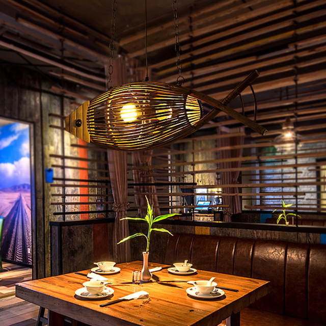 Creative Hand Crafted Bamboo Fish Led E27 Pendant Lights for Living Room Bar Dining Room Shop Coffee shop decoration