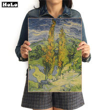 Van Gogh Famous Oil Painting forest Vintage Kraft Paper Bars Cafe Poster Retro Home Decor Wall Sticker FVD 42.5x30.5cm(China)