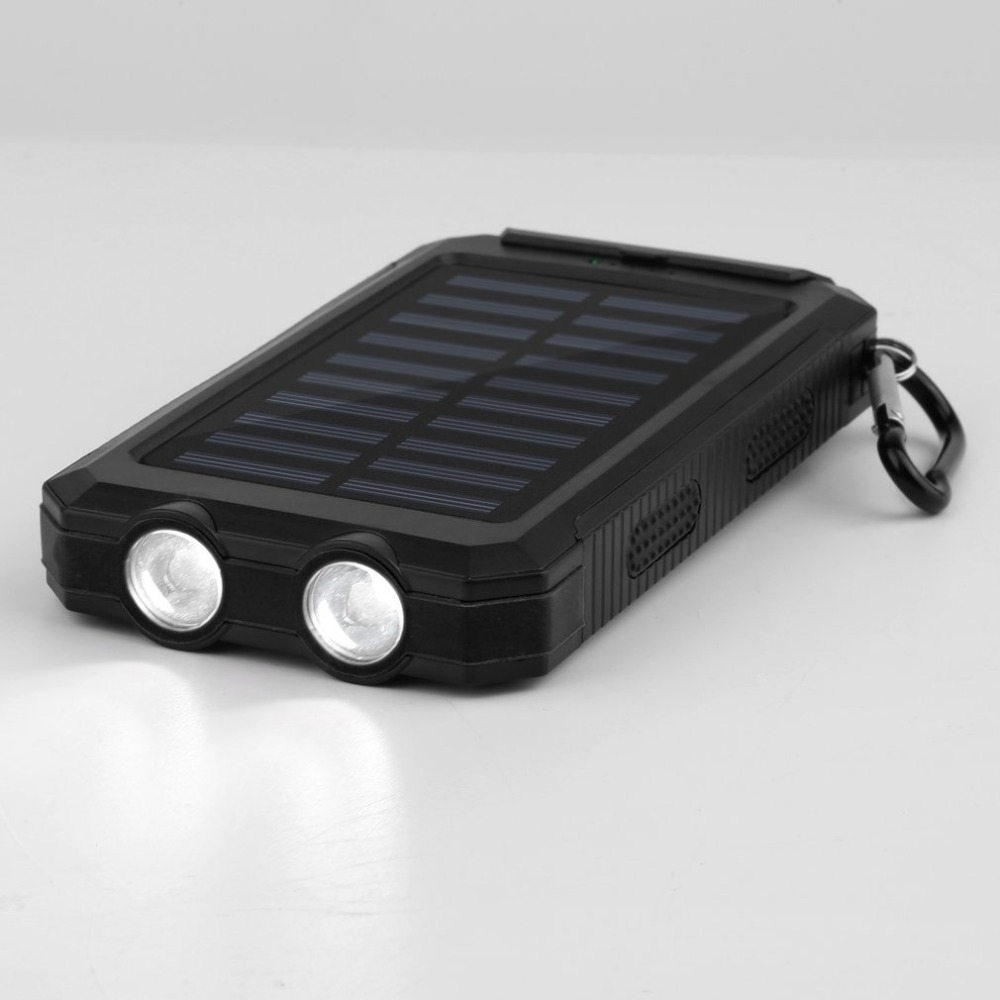 12000mAh Waterproof Power Bank Durable Portable Solar Charger Powerbank External Battery With Compass 2 LED for Emergency